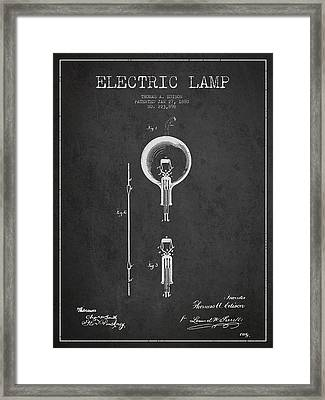 Thomas Edison Electric Lamp Patent From 1880 - Dark Framed Print