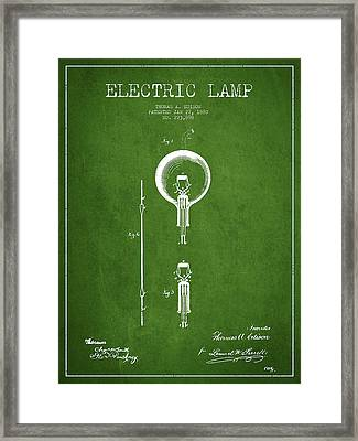 Thomas Edison Electric Lamp Patent From 1880 - Green Framed Print
