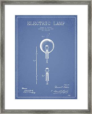 Thomas Edison Electric Lamp Patent From 1880 - Light Blue Framed Print by Aged Pixel