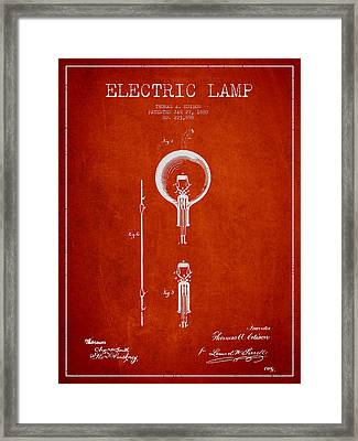 Thomas Edison Electric Lamp Patent From 1880 - Red Framed Print by Aged Pixel