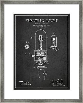 Thomas Edison Electric Light Patent From 1880 - Charcoal Framed Print by Aged Pixel