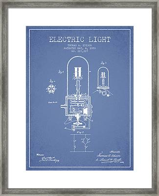 Thomas Edison Electric Light Patent From 1880 - Light Blue Framed Print by Aged Pixel