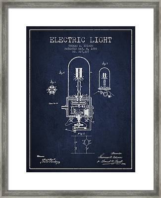 Thomas Edison Electric Light Patent From 1880 - Navy Blue Framed Print by Aged Pixel