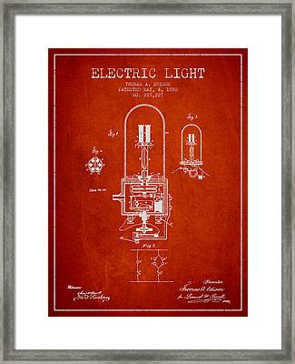 Thomas Edison Electric Light Patent From 1880 - Red Framed Print by Aged Pixel