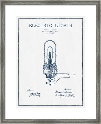 Thomas Edison Electric Lights Patent From 1880  - Blue Ink Framed Print by Aged Pixel