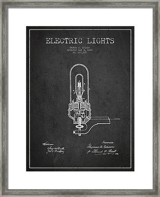 Thomas Edison Electric Lights Patent From 1880 - Dark Framed Print by Aged Pixel