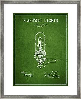 Thomas Edison Electric Lights Patent From 1880 - Green Framed Print by Aged Pixel