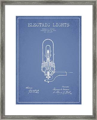 Thomas Edison Electric Lights Patent From 1880 - Light Blue Framed Print by Aged Pixel