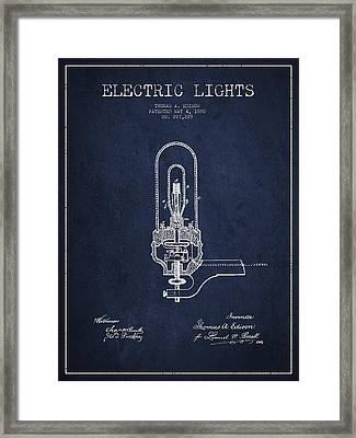Thomas Edison Electric Lights Patent From 1880 - Navy Blue Framed Print by Aged Pixel