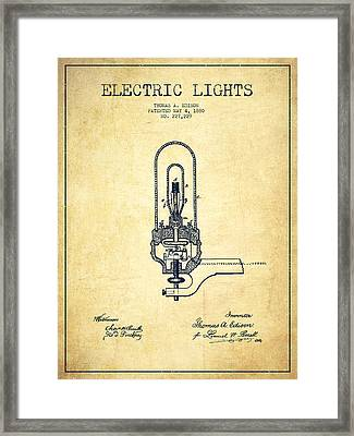 Thomas Edison Electric Lights Patent From 1880 - Vintage Framed Print by Aged Pixel