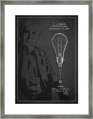 Thomas Edison Incandescent Lamp Patent Drawing From 1890 Framed Print