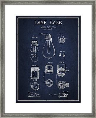 Thomas Edison Lamp Base Patent From 1890 - Blue Framed Print by Aged Pixel