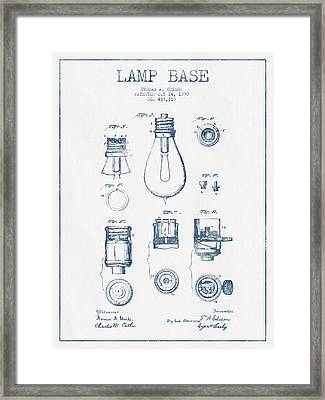 Thomas Edison Lamp Base Patent From 1890 - Blue Ink Framed Print by Aged Pixel