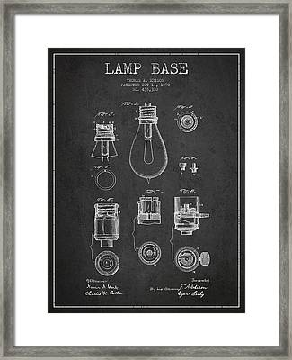Thomas Edison Lamp Base Patent From 1890 - Dark Framed Print by Aged Pixel