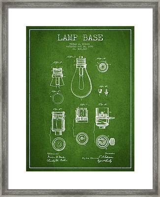 Thomas Edison Lamp Base Patent From 1890 - Green Framed Print
