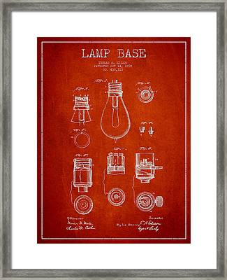 Thomas Edison Lamp Base Patent From 1890 - Red Framed Print by Aged Pixel