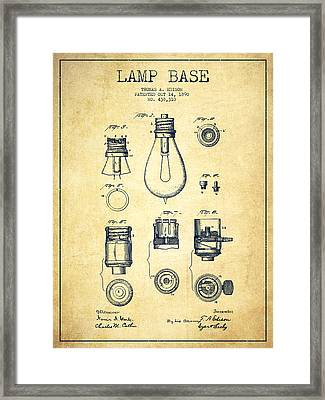 Thomas Edison Lamp Base Patent From 1890 - Vintage Framed Print by Aged Pixel
