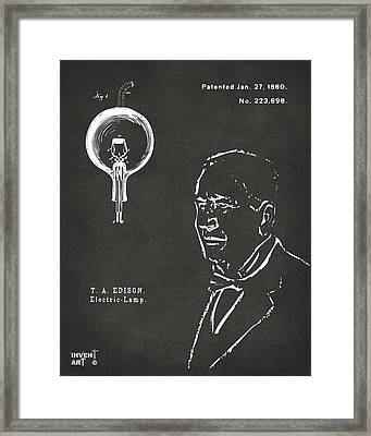 Thomas Edison Lightbulb Patent Artwork Gray Framed Print by Nikki Marie Smith