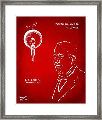 Thomas Edison Lightbulb Patent Artwork Red Framed Print