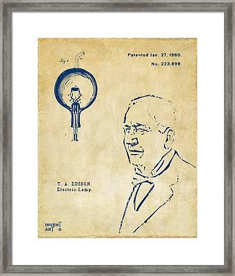 Thomas Edison Lightbulb Patent Artwork Vintage Framed Print