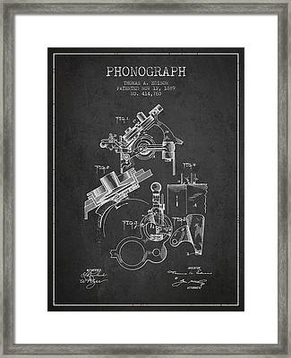 Thomas Edison Phonograph Patent From 1889 - Charcoal Framed Print by Aged Pixel