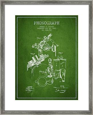 Thomas Edison Phonograph Patent From 1889 - Green Framed Print by Aged Pixel