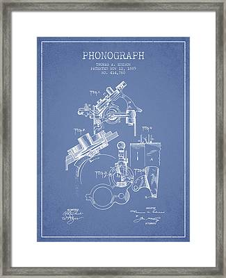 Thomas Edison Phonograph Patent From 1889 - Light Blue Framed Print by Aged Pixel