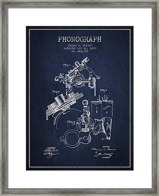 Thomas Edison Phonograph Patent From 1889 - Navy Blue Framed Print by Aged Pixel