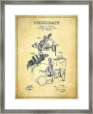Thomas Edison Phonograph Patent From 1889 - Vintage Framed Print by Aged Pixel