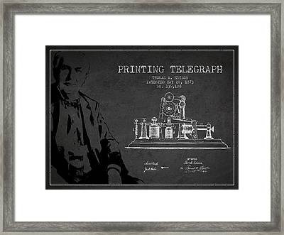 Thomas Edison Printing Telegraph Patent Drawing From 1873 - Dark Framed Print