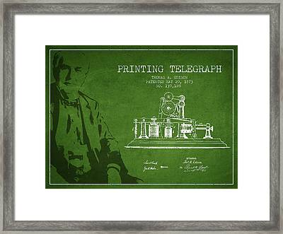 Thomas Edison Printing Telegraph Patent Drawing From 1873 - Gree Framed Print