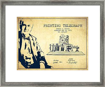 Thomas Edison Printing Telegraph Patent Drawing From 1873 - Vint Framed Print