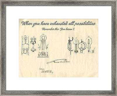 Thomas Edison Quote Framed Print by Gina Dsgn