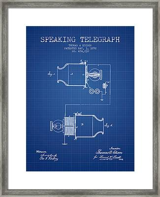 Thomas Edison Speaking Telegraph Patent From 1892 - Blueprint Framed Print by Aged Pixel