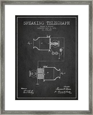 Thomas Edison Speaking Telegraph Patent From 1892 - Charcoal Framed Print by Aged Pixel
