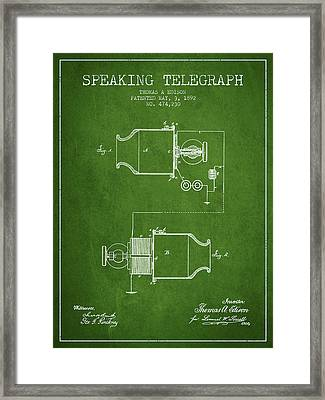 Thomas Edison Speaking Telegraph Patent From 1892 - Green Framed Print by Aged Pixel