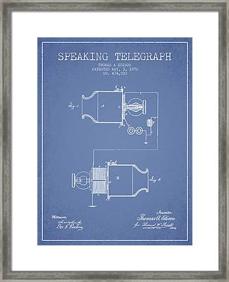 Thomas Edison Speaking Telegraph Patent From 1892 - Light Blue Framed Print by Aged Pixel