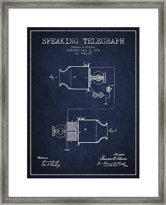 Thomas Edison Speaking Telegraph Patent From 1892 - Navy Blue Framed Print by Aged Pixel