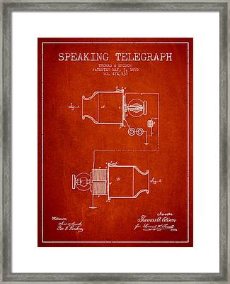 Thomas Edison Speaking Telegraph Patent From 1892 - Red Framed Print by Aged Pixel
