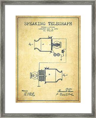 Thomas Edison Speaking Telegraph Patent From 1892 - Vintage Framed Print by Aged Pixel