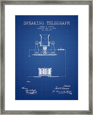 Thomas Edison Speaking Telegraph Patent From 1893 - Blueprint Framed Print by Aged Pixel
