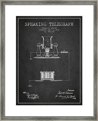 Thomas Edison Speaking Telegraph Patent From 1893 - Charcoal Framed Print by Aged Pixel
