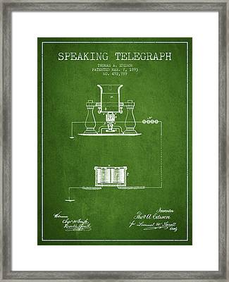 Thomas Edison Speaking Telegraph Patent From 1893 - Green Framed Print by Aged Pixel