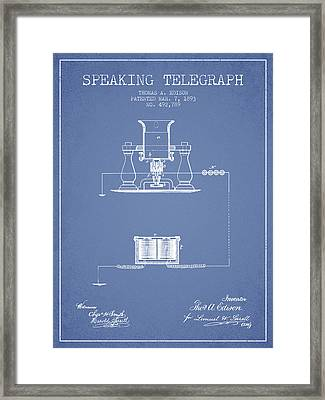Thomas Edison Speaking Telegraph Patent From 1893 - Light Blue Framed Print by Aged Pixel