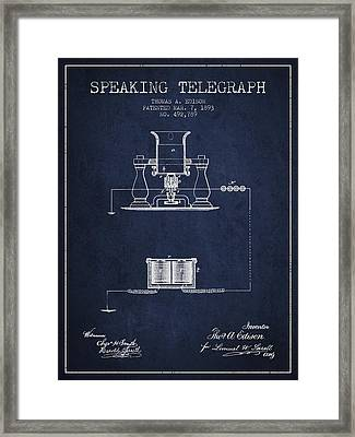 Thomas Edison Speaking Telegraph Patent From 1893 - Navy Blue Framed Print by Aged Pixel