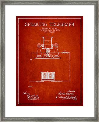 Thomas Edison Speaking Telegraph Patent From 1893 - Red Framed Print by Aged Pixel