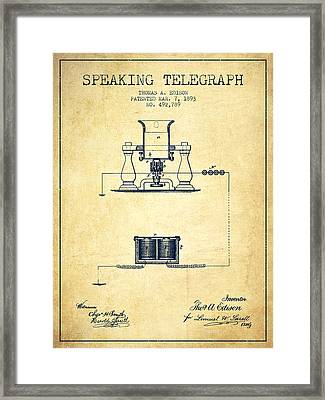 Thomas Edison Speaking Telegraph Patent From 1893 - Vintage Framed Print by Aged Pixel