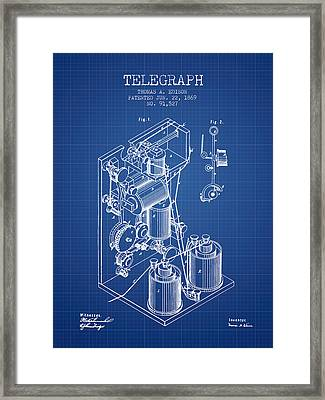 Thomas Edison Telegraph Patent From 1869 - Blueprint Framed Print by Aged Pixel