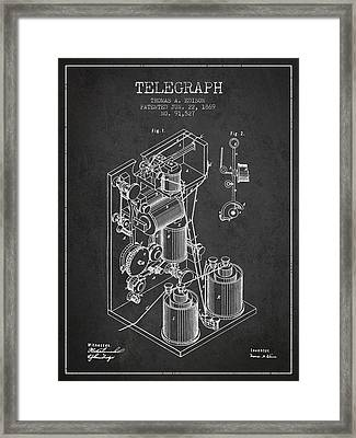 Thomas Edison Telegraph Patent From 1869 - Charcoal Framed Print