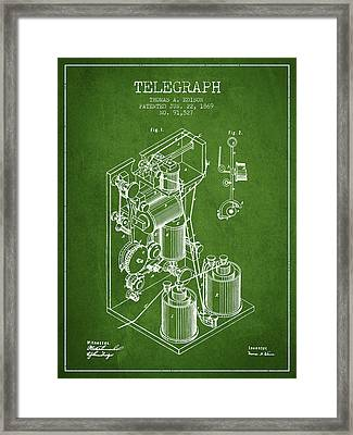 Thomas Edison Telegraph Patent From 1869 - Green Framed Print by Aged Pixel